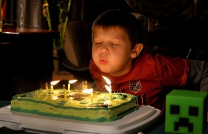 Birthday - Boy blowing out candles